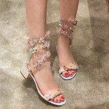 2019 Flower Rhinestone Gladiator Sandals Women Open Toe Snake Ankle Strap Jewelled High Heels Woman Sexy Wedding Shoes цены онлайн