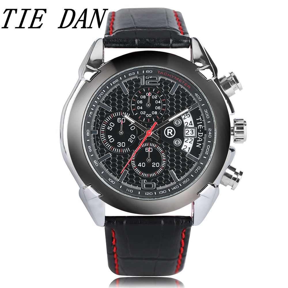 TIEDAN Luxury Men Watches Genuine Leather Strap Pilot Quartz Calender Chronograph Sport Wrist Watch Black Dail High Quality Gift pattous mens sports watch black genuine leather chronograph dial date sport quartz watches miyota quartz wrist watch gift box