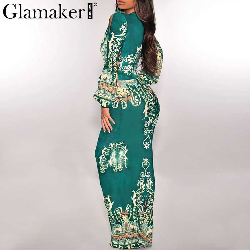 ... Glamaker Sexy paisley red print long dress Women belt maxi elegant boho  dress Female summer party ...
