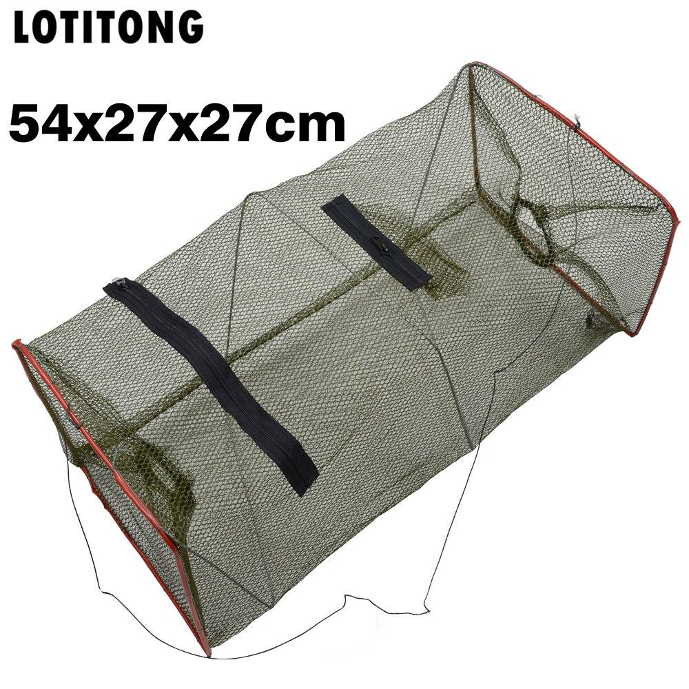LOTITONG 54*27cm Folding Fishing Net Catch Crab Shrimp Minnow Fishing Bait Trap Cast Dip Net Nylon Network Cage