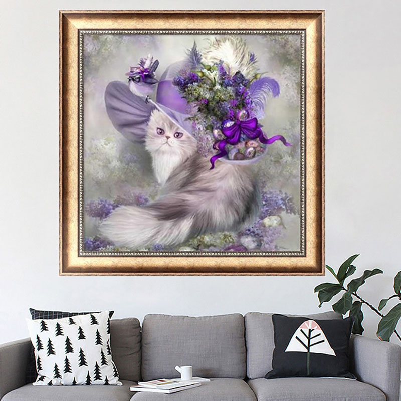 1PC Diamante DIY 5D Diamond Painting Cat Hat Manualidades Decoration Beaded Embroidery Christmas Decorations Elf On The Shelf