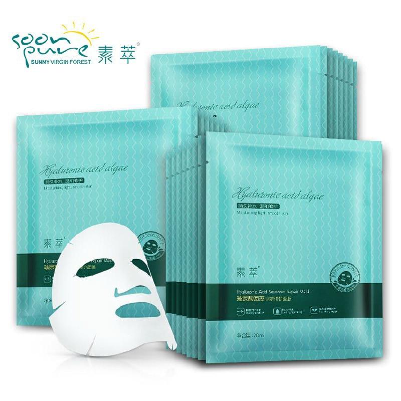 SOON PURE Hialuronsav Tengeri alga Essence javító arcmaszk Bőrápoló maszk fehérítő Ageless Anti Winkles Ingyenes szállítás