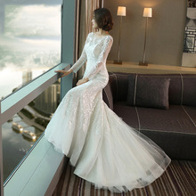 Beauty White Lace Wedding Dresses 2019 Long Mermaid Full Sleeve Party Women Bridal Reflective Up