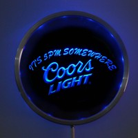 Rs 0097 Coors Light 5pm LED Neon Round Signs 25cm 10 Inch Bar Sign With RGB
