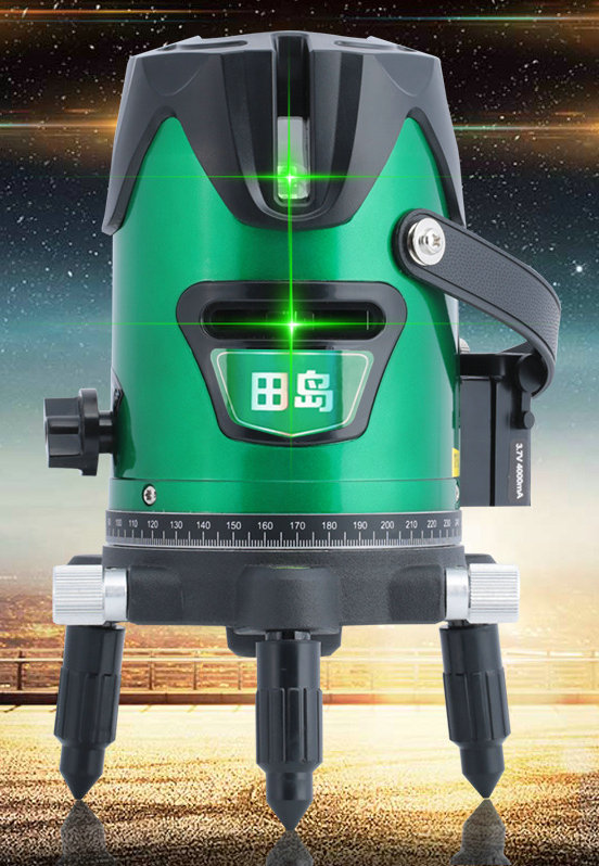 5 Lines laser level green 360 degrees  rotating outdoor play thread blood lines