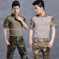 Summer tactical camouflage military uniform short sleeve clothes suit men US army multicam airsoft combat shirt + cargo pants