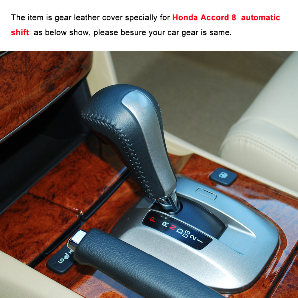 Yuji-Hong Car Gear Covers Case For Honda Accord 8 Automatic Shift Collars Genuine Leather Auto Leather Cover