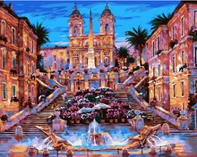 Frameless Fountain Landscape DIY Painting By Numbers Hand Painted Oil Painting Home Decor Wall Art Picture