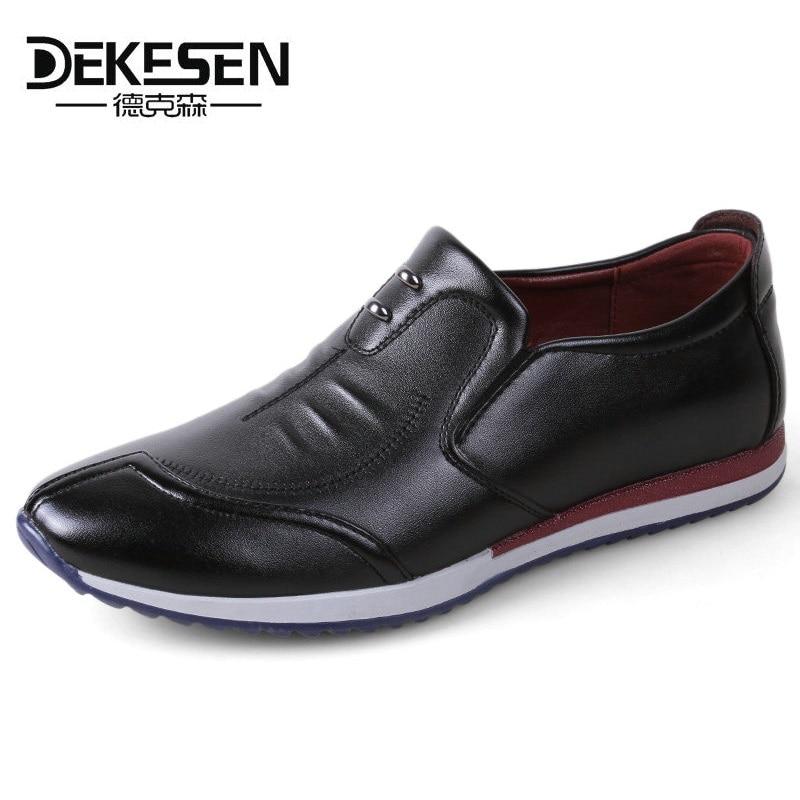 DEKESEN 2018 New Comfortable Leather Shoes Casual Men's Flats Design Man Driving Shoes Soft Bottom Leather Men Sneakers Shoes dekesen new graffiti trendy sneakers shoes for men 100