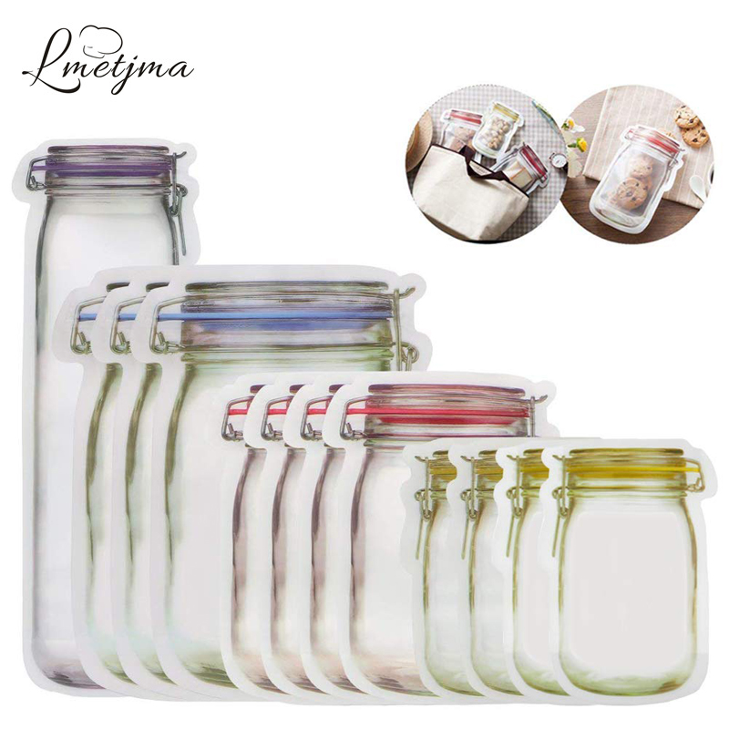 LMETJMA 12 Pieces Mason Jar Zipper Food Storage Bags
