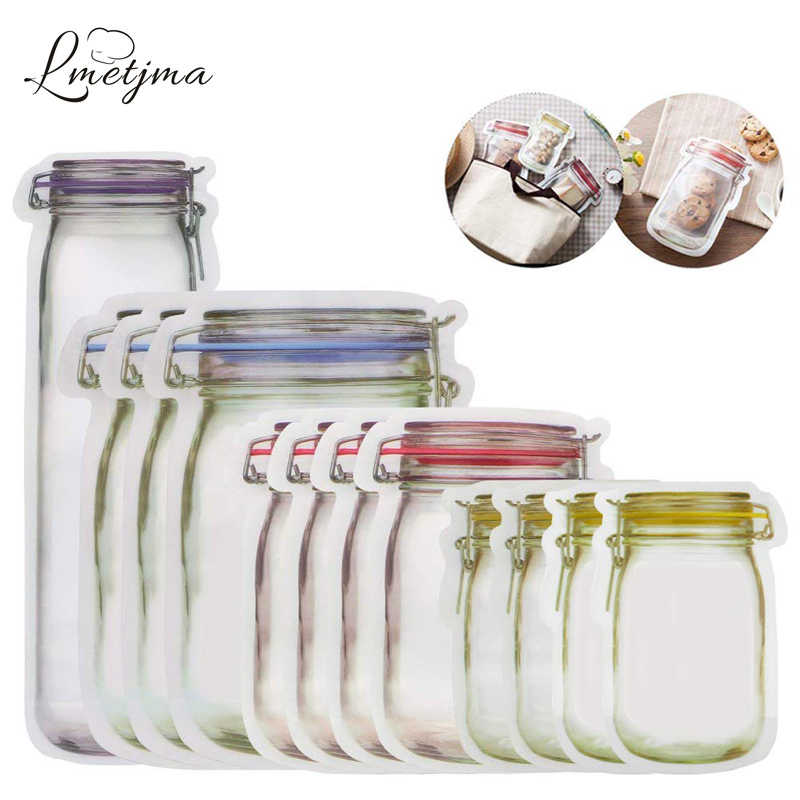 LMETJMA 12 Pieces Mason Jar Zipper Bags Reusable Snack Saver Bag Leakproof Food Sandwich Storage Bags for Travel Kids KC0216