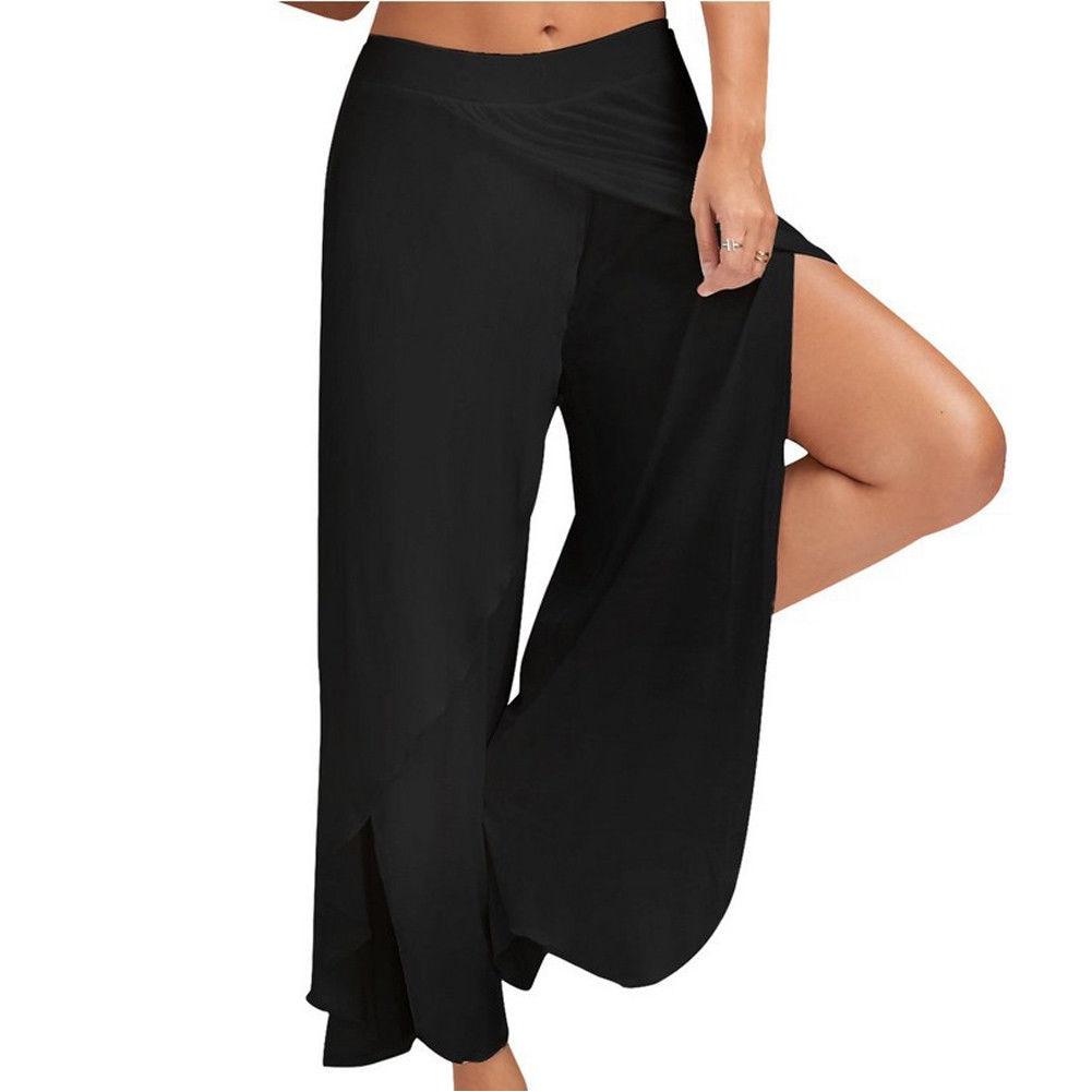 Fashion Hot Womens M-5XL Pants High Waist Wide Leg Culottes Long Trousers Casual Loose Pants Black White