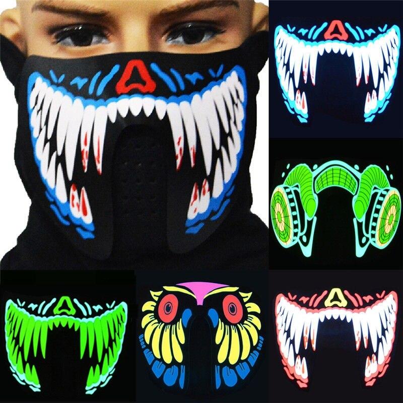 LED máscaras ropa grande Terror máscaras luz fría casco fuego Festival Fiesta brillante danza constante música activada por voz máscara
