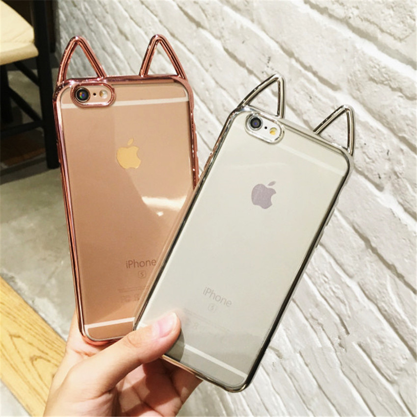 Cute Cartoon Cat Ears Case For iPhone X 8 7 6S 5S Case Plating Clear Soft Gel Phone Case For iPhone 5 6 7 Plus Coque Capa Fundas