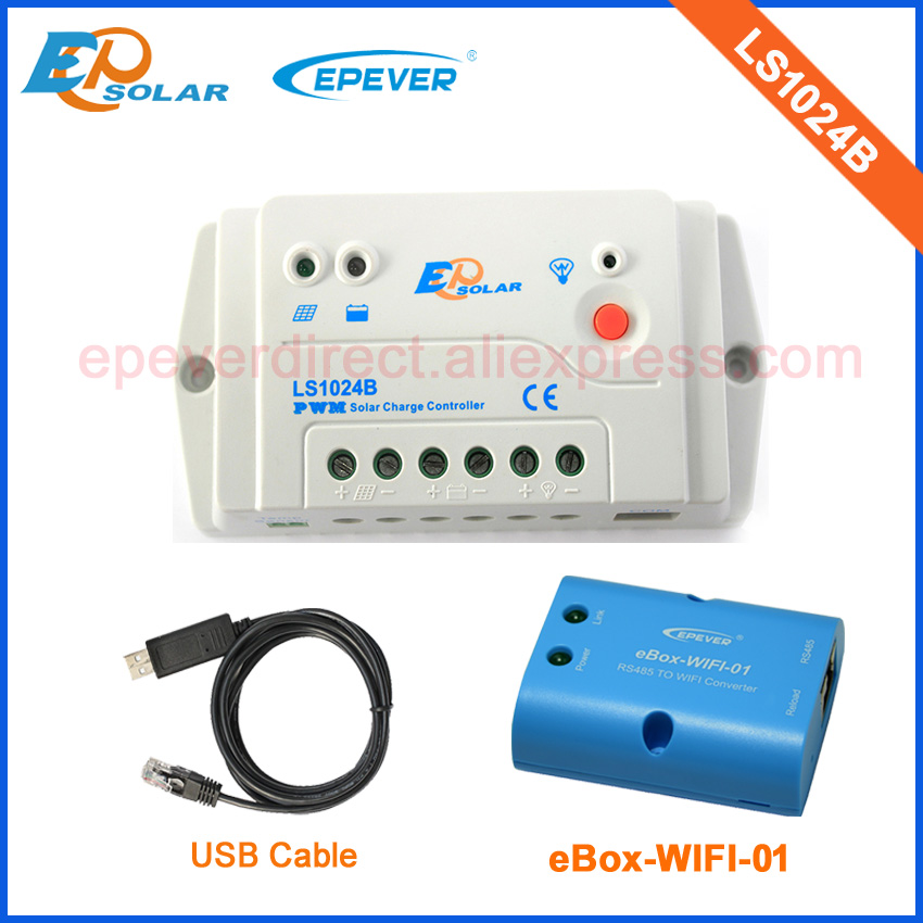 Solar voltage 12V 24V Battery auto switch controller LS1024B Wifi eBOX Android Phone APP USB cable connect with PC regulator image
