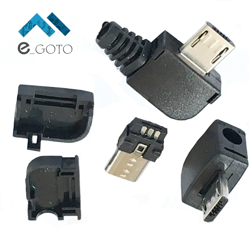 50pcs Short Micro USB Male Connector Adapter Kit USB Plug 90 Degree Right Angle DIY Components Socket Plastic Cover