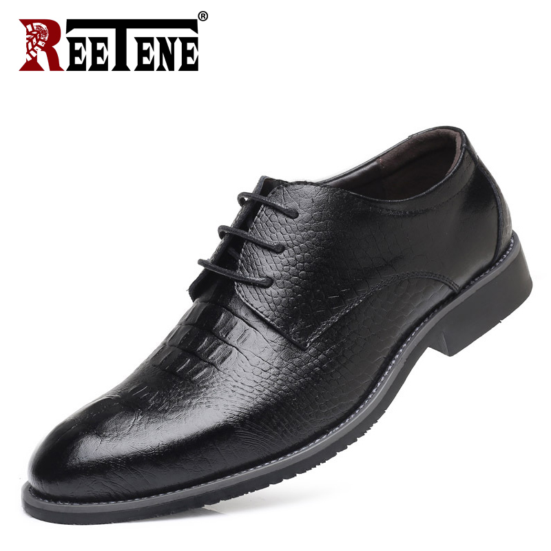 REETENE 2018 Leather Casual Men Dress Shoes Fashion Round Toe Lace Up Men Shoes Comfortable Office Men Shoes Plus Size 38-48 red leather men casual shoes lace up high tops flats fashion patchwork men s sneakers round toe plus size customized board shoes