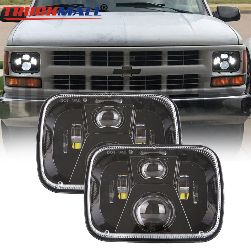 Black Square 5x7Inch 12V 24V LED Headlight Projector Headlamp with DOT EMARK Approved Head Lamp for