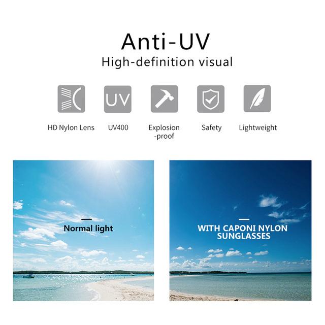 CAPONI Brand Designer Nylon UV400 Sunglasses for Men Eyewear Driving Sun Glasses Male Oculos Gafas 7023