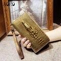 Ladies leather wallets 3D crocodile alligator women purse clutch Long Female Wristlet coin purse Phone Pocket Handy Girls Wallet
