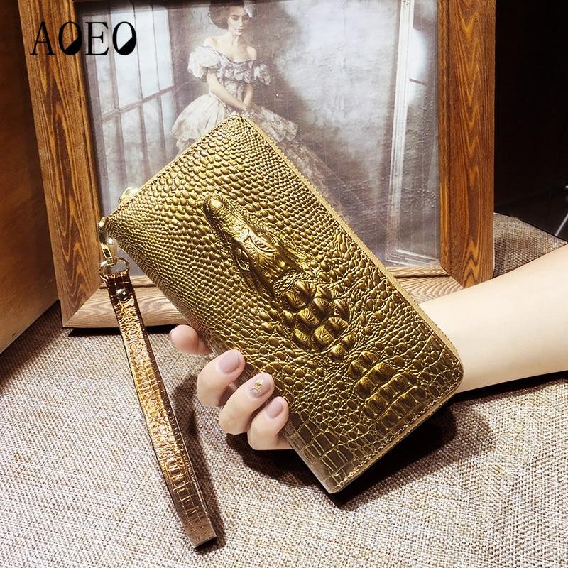 Portafogli in pelle da donna 3D del coccodrillo del coccodrillo delle donne della borsa di frizione Lungo Femminile Del Cinturino Dell'orologio della borsa della moneta Tasca Del Telefono A Portata di mano Ragazze Portafoglio