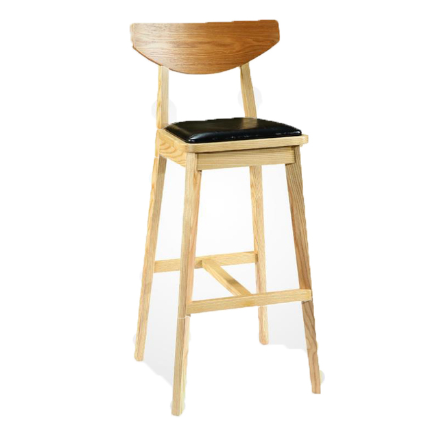 Simple Solid Wood High Chair Bar Front Desk High Stool Back Bar