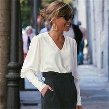 Bluzka koszula lato moda kobiety bluzka z długim rękawem Casual Loose biała bluzka eleganckie biuro panie wiosna przycisk topy koszulki tanie tanio TOSJC Poliester REGULAR Pani urząd Szyfonowa Pełna Stałe V-neck Puff rękawem LFY716 Chiny (kontynentalne)