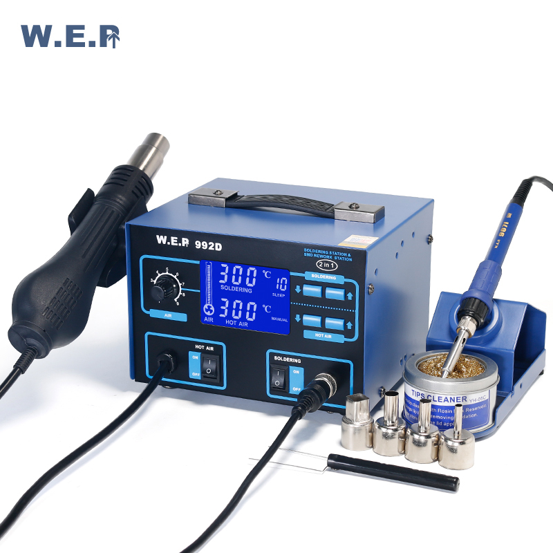WEP 992D Hot Air solder iron Soldering Station 2 In 1 SMD Rework Station