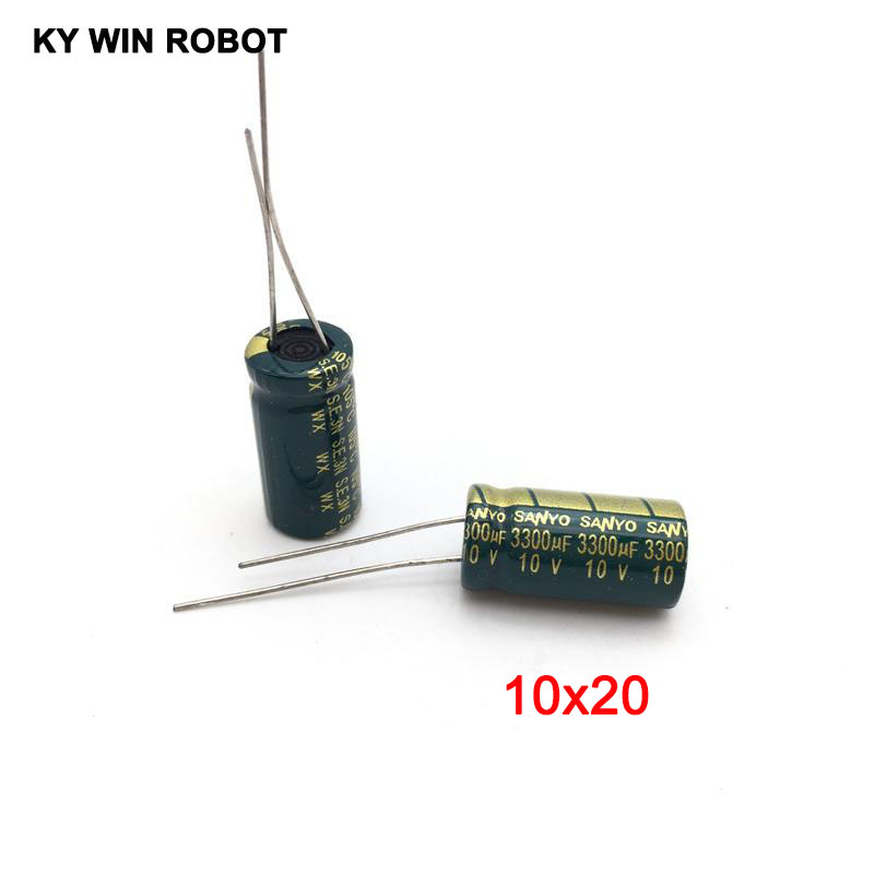 10pcs 10v 3300UF Electrolytic Capacitors 3300UF 10V 10x20mm 105C Radial High-frequency Low Resistance Electrolytic Capacitor