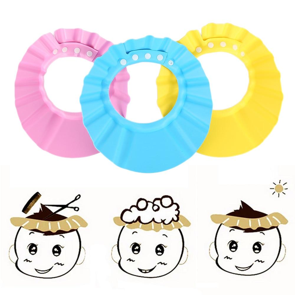 3 Colors Children Adjustable Safe Shampoo Shower Bath Protection Soft Caps Baby Hats Waterproof Wash Hair Shield