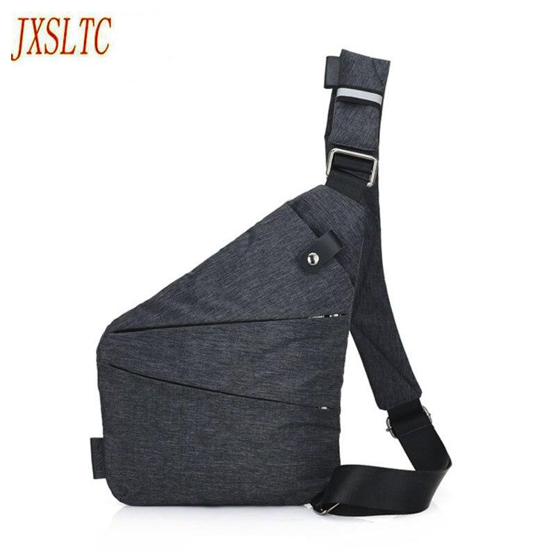 JXSLTC Anti-Theft Men travel Messenger Bag Shoulder Bags Men diagonal Hidden Pack Mens Cool Motorcycle Sling gun pack chest bag
