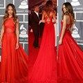55o Grammy Rihanna vestidos 2015 Red de cuello alto espalda abierta Red Carpet Celebrity Dresses Red de noche de gasa pura vestidos