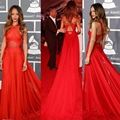 55th Grammy Rihanna Dresses 2015 Red High Neck Open Back Red Carpet Celebrity Dresses Red Sheer Chiffon Evening Dresses