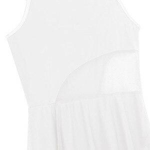 Image 5 - Yeni Kadın Kolsuz Asimetrik Örgü Balo Salonu Dans Maxi Elbise ile Dahili Leotard Balerin Sahne Lirik Dans Kostümleri