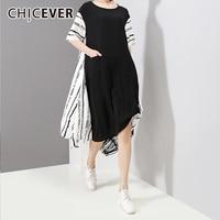 CHICEVER Striped Dress Women Clothes 2018 Half Sleeve Loose Big Siez Asymmetrical Hem Summer Dresses Korean