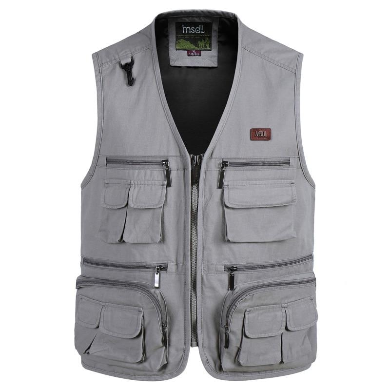 New high quality Fashion Vests For Men Wholesale Men's Multi pocket Photography Vest Men Casual Reporter Director Military
