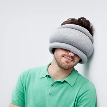 1Piece Ostrich Pillow Light (Gray+Blue) / Portable Power Napping Pillow with Retail Box Packaging Box Pillow Car Head Neck Rest