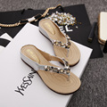 2016 New Fresh And Little Star Flower Sandals Fashion Metal Luster Flat With Slippers Summer Shoes For Party Flip Flops M114
