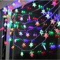 Светодиодные строки свет Звезды светодиодное освещение 10 М 50led Рождественская Звезда Строка светло-Красный/Желтый/Зеленый/Синий/белый/Теплый белый luminaria