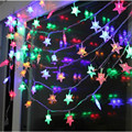 Led corda luz Da Estrela conduziu a iluminação 10 M 50led Natal Estrela Seqüência de luz Vermelho/Amarelo/Verde/Azul/branco/branco Morno luminaria