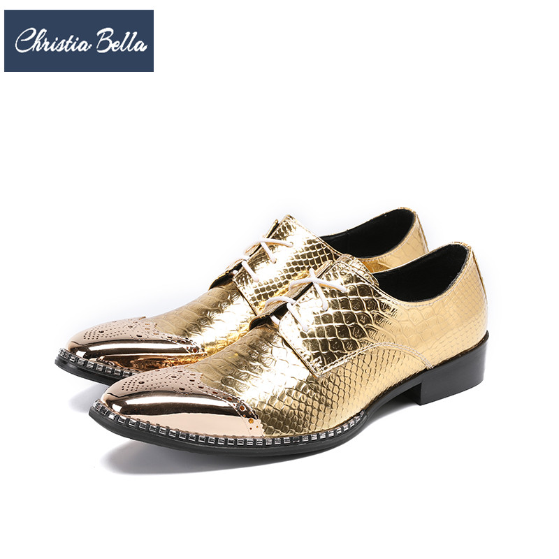 Christia Bella British Style Bullock Carved Men Oxford Shoes Gold Wedding Dress Shoes Lace Up Genuine Leather Men Brogue Shoes black leather british style carved men brogue shoes pointed toe lace up flat men bussiess dress men shoes high quality