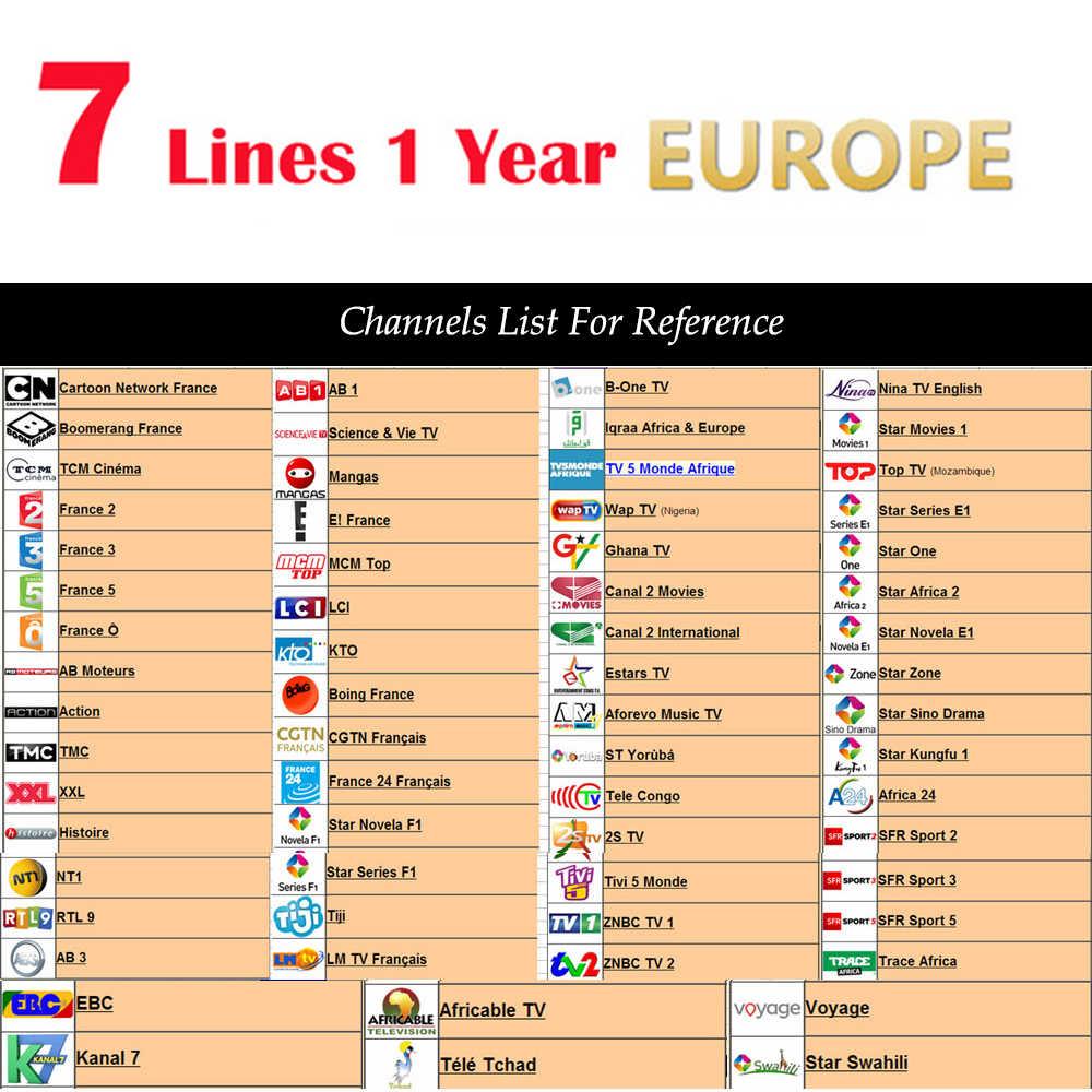 Испания OSCAM Cccam 7 lines для детей в возрасте от 1 года Испания б/у для freesat v7 DVB-S2 CCcam цлайн-цифра спутниковый телевизионный ресивер европейские каналы 7 линий