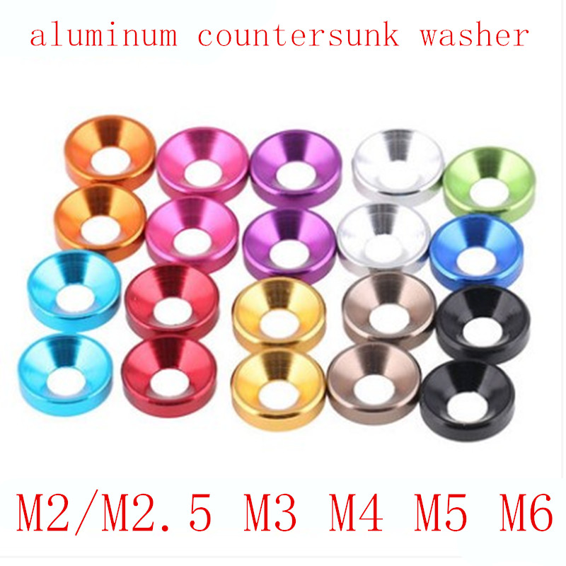 M2 Aluminium Alloy Countersunk Washers Multi-Color QTY 12
