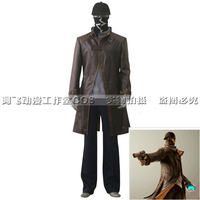 Anime! Watch Dogs Aiden Pearce Trench Coat Uniform Cosplay Costume Customize Halloween Daily Suit For Men Free Shipping
