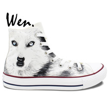 Wen White Hand Painted Shoes Design Custom Snow Ground Wolf Men Women's High Top Canvas Sneakers for Christmas Gifts