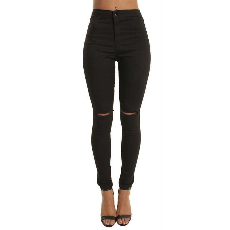 f92b5dd653d Weweya тонкий Рваные джинсы для Для женщин узкие Высокая талия джинсы  черные джинсовые узкие брюки джинсы