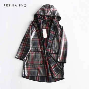 REJINAPYO Women Vintage Style Plaid Hooded Transparent Raincoat Long Trench Coat Covered Buttons High Street Plus Size - DISCOUNT ITEM  46% OFF All Category