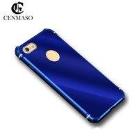 CENMASO פופולרי יוקרה מגניב דק במיוחד סגסוגת מתכת חזרה Case כיסוי עור עבור Iphone 6 6 s 7 בתוספת לשלם לא יימוג אלומיניום מסגרת