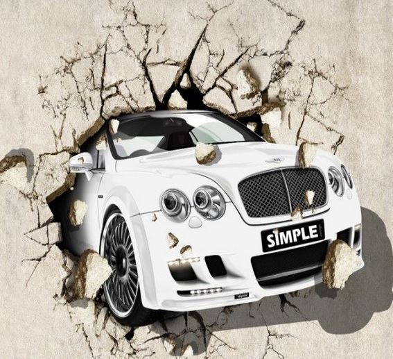 3D Wall Painting large 3d wall painting car 3d mural large background wall