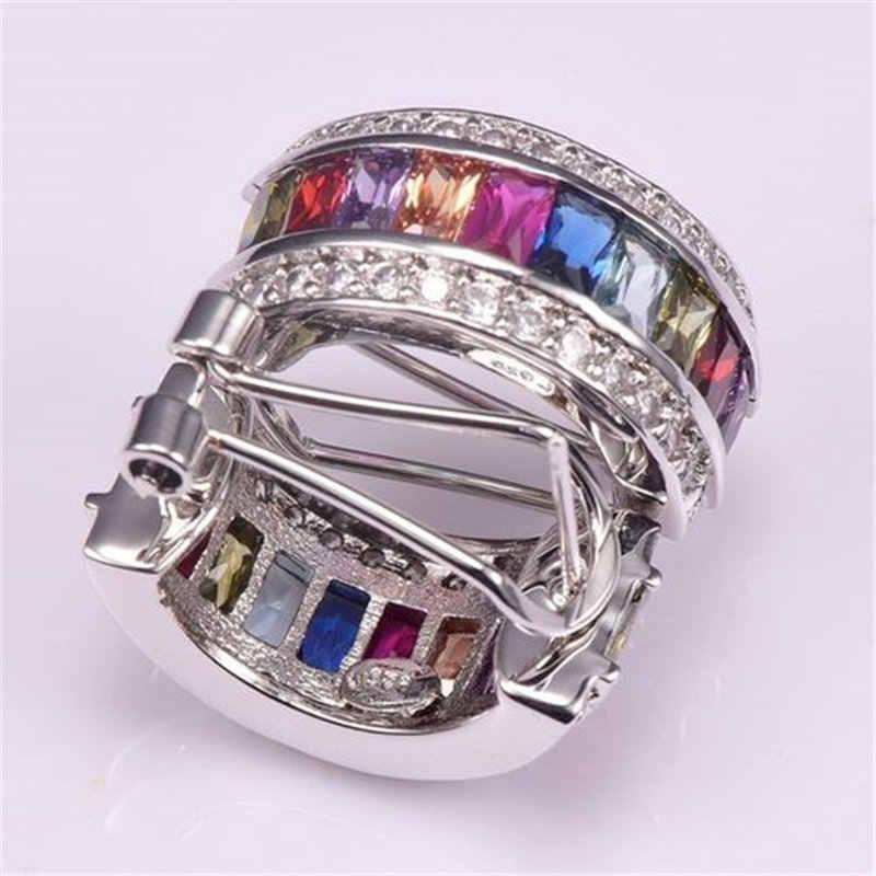 Romantische Multicolor Kristall Zirkon Brincos Hoop Ohrringe für Frauen Schmuck Hochzeit Erklärung Ohrringe Engagement Statten